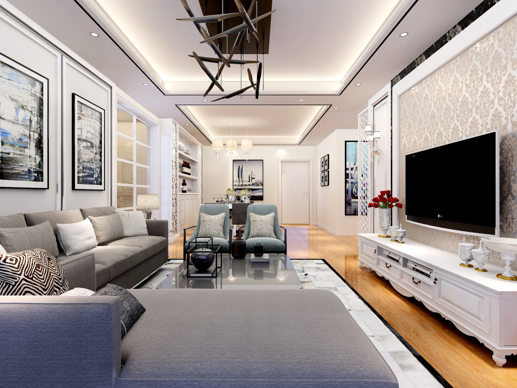 简约三房两厅装修设计效果图