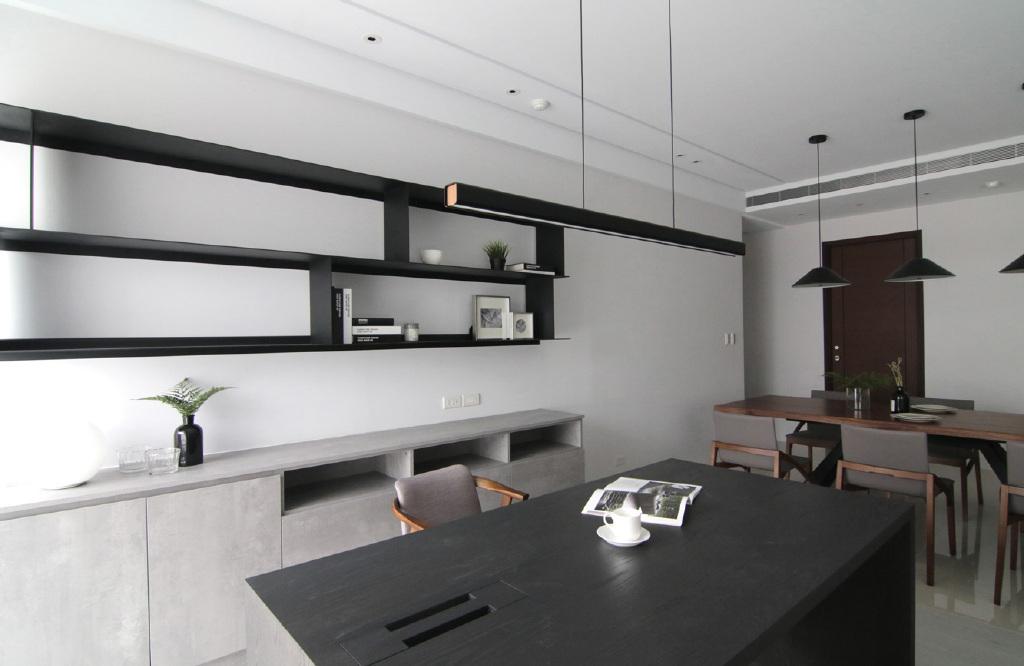 气质黑白灰现代风格家居装修,硬装造型简洁而干练,软装搭配个性.
