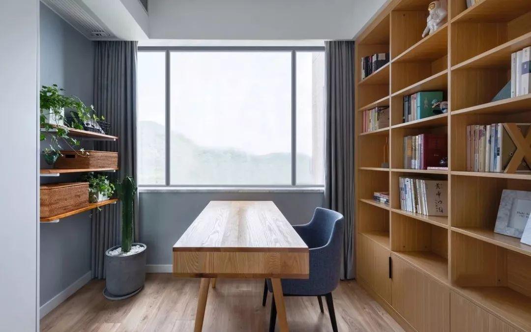 阳台改书房书柜效果图