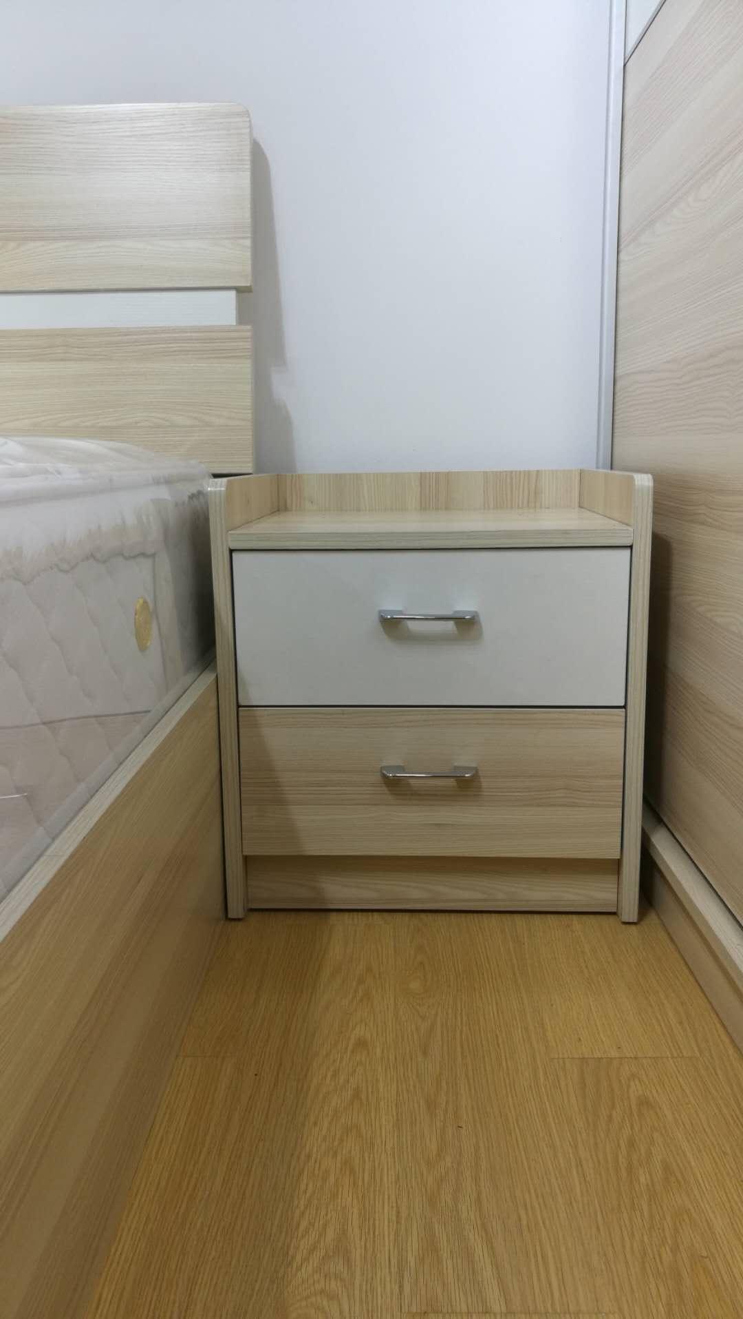 简约风格原木色白色拼色B型床边柜