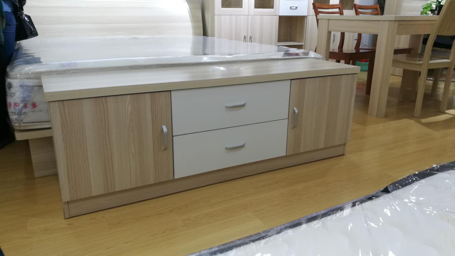简约风格原木色白色拼色电视柜