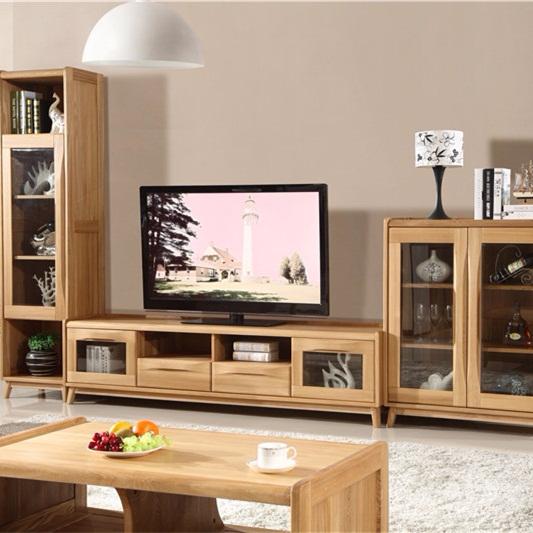 北欧篱笆全实木电视柜组合 客厅全实木电视柜酒柜组合