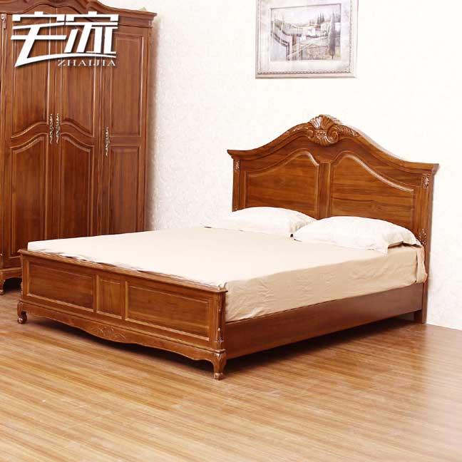宅家 欧式定制柚木家具实木床缅甸柚木床别墅家具双人床