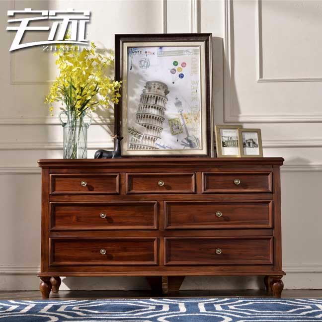 宅家木蜡油缅甸全柚木七斗柜电视柜简美卧室全实木家具