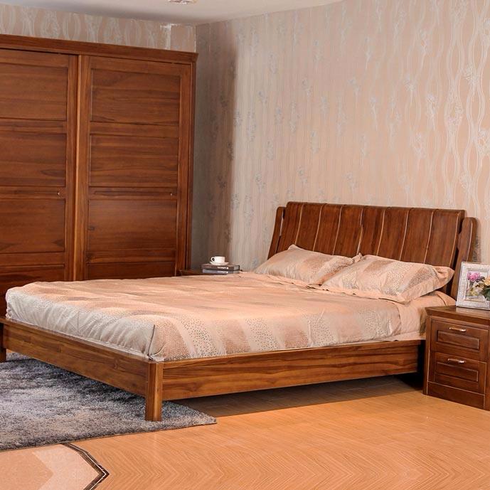 柚木床 双人床 全实木床 实木家具婚床 中式 缅甸柚木