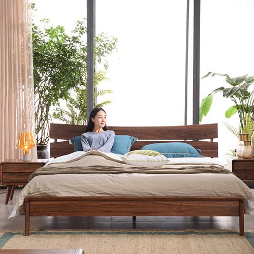 北欧家具风格黑胡桃木全实木床现代简约中式双人床1.5米