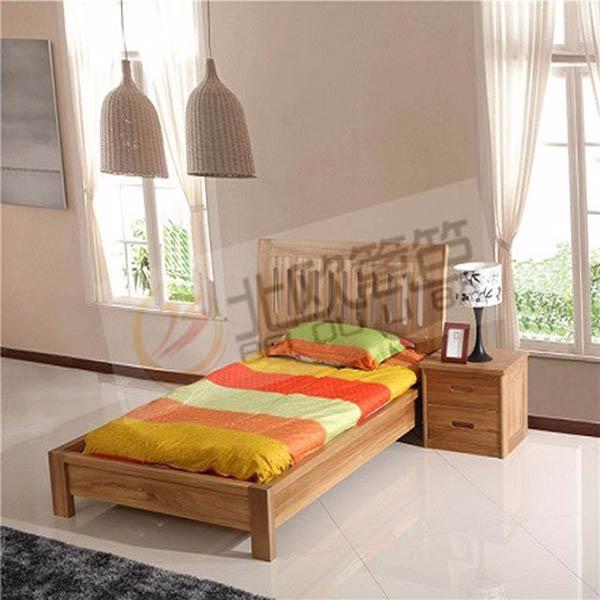 北欧篱笆全实木榆木1.2米单人床简约现代卧室家具床头柜
