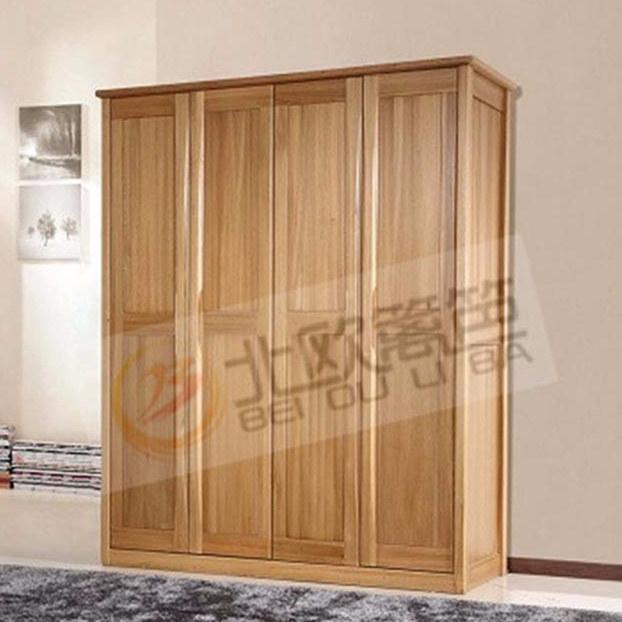北欧篱笆全实木大衣柜衣橱卧室家具儿童衣柜衣橱4门衣柜