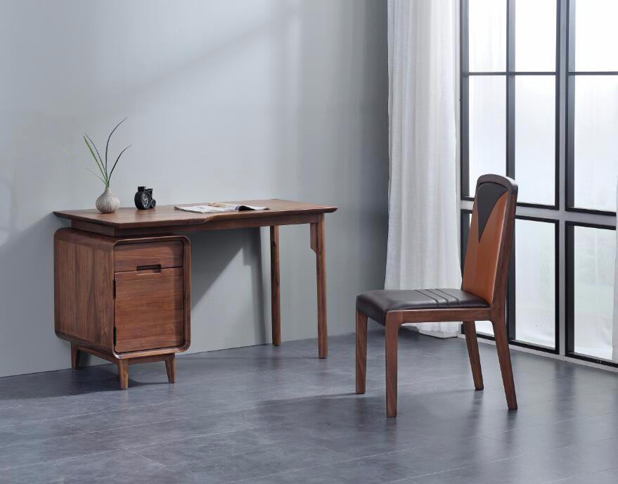 奥芬达家具 黑胡桃全实木系列书桌+书椅