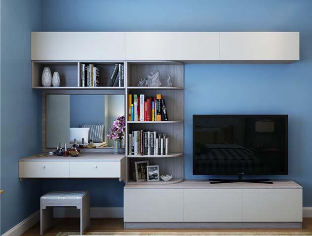 现代一体梳妆台名称书架时尚卧室组合式电视柜圆弧定金关于特权设计方面的平面图片