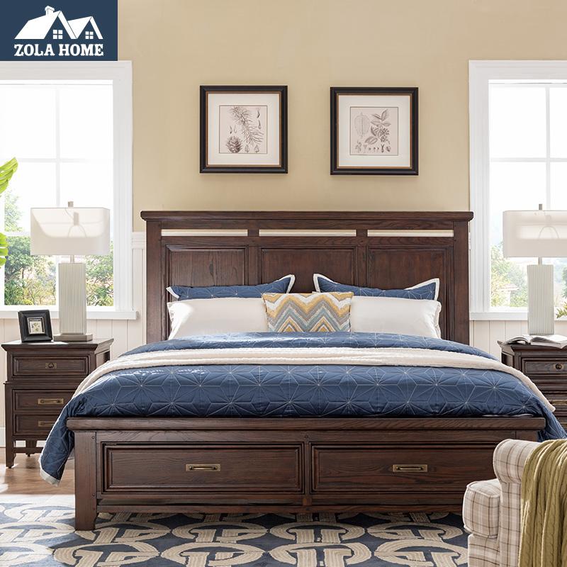 左拉家居 美式实木床1.8米双人床现代储物床1.5m抽屉