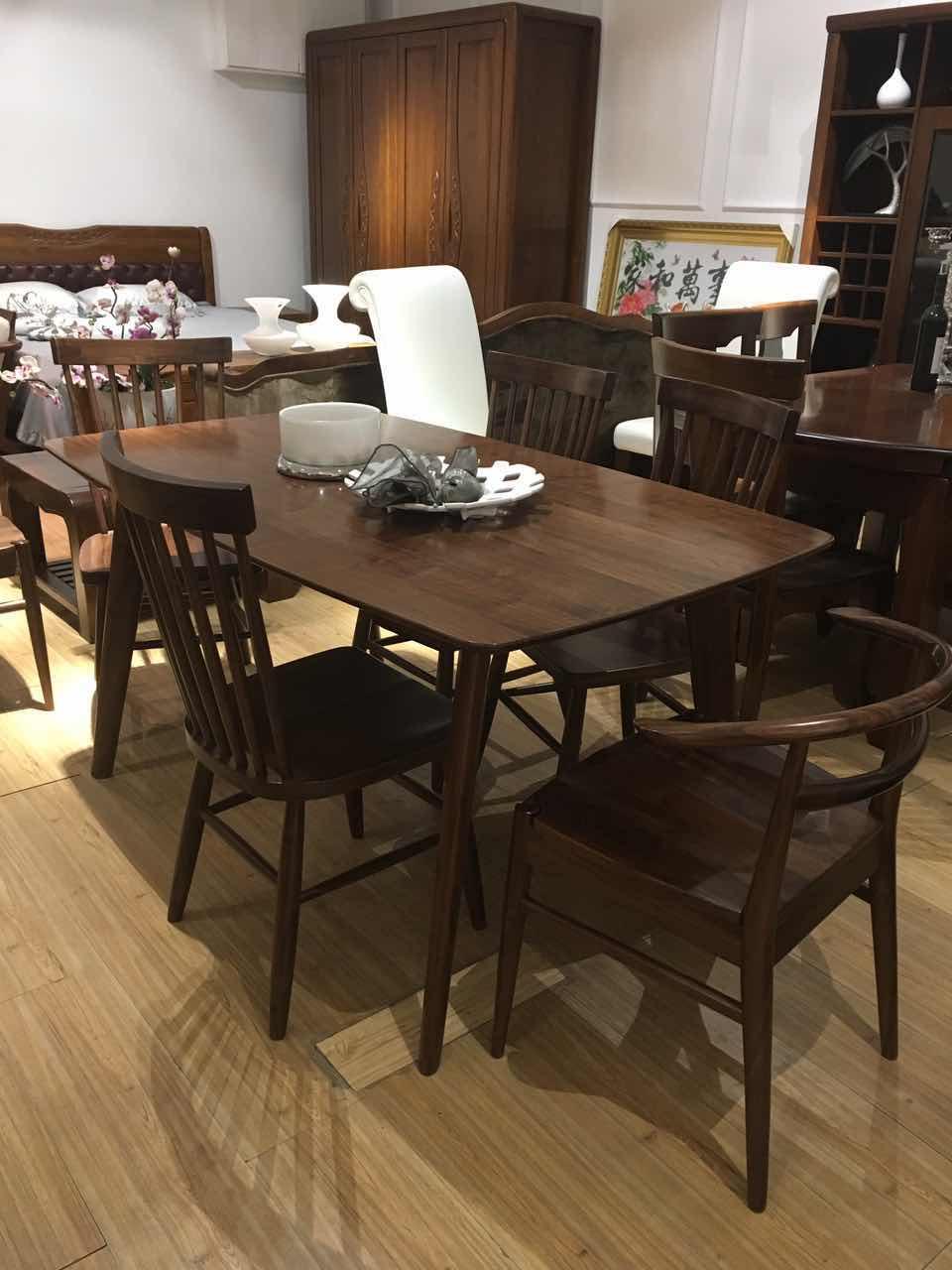 盛恺家具702型黑胡桃木餐桌