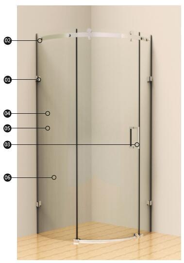 淋浴房 定制淋浴房 加枫khs-212q 圆弧型推拉门淋浴房   (尺寸1 尺寸2