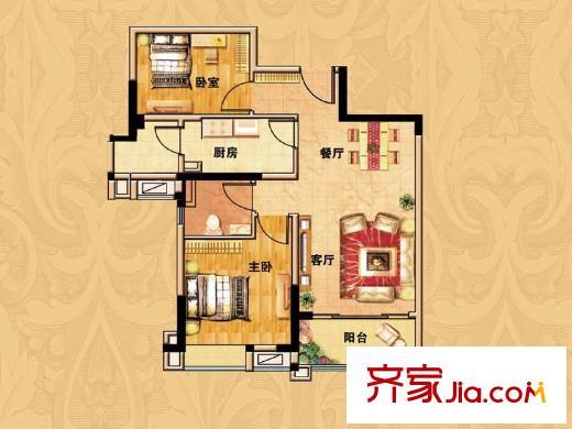 碧桂园欧洲城三期依云小镇标准层j246a 户型图 2室2厅1卫1厨