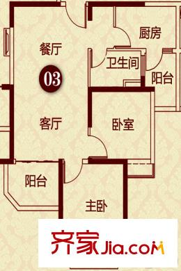 恒大雅苑二期14幢15幢16幢19幢1单元标准层c户型 2室2厅1卫1厨