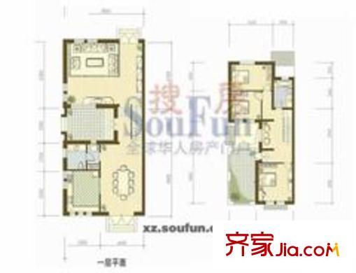 泉山美墅别墅户型图双拼北厅1-2层 2室2厅1卫1厨