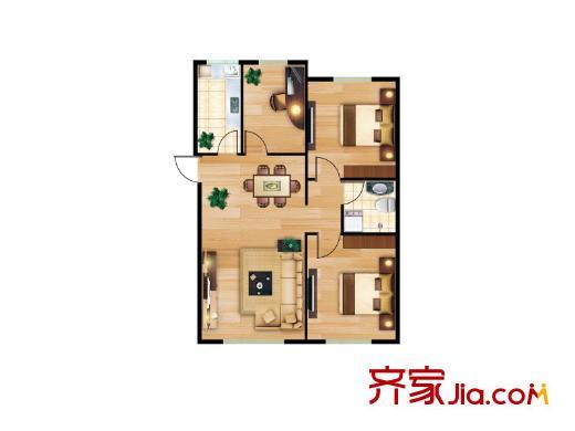 颐和花园三期c户型三室两厅一卫96平方米 3室2厅1卫