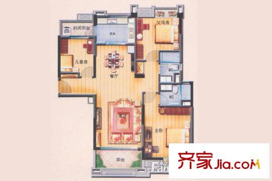 碧桂园翡翠湾j550-c户型 3室2厅1卫1厨