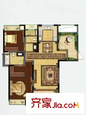 如皋雨润广场一期1,2#楼a1户型 2室2厅2卫1厨