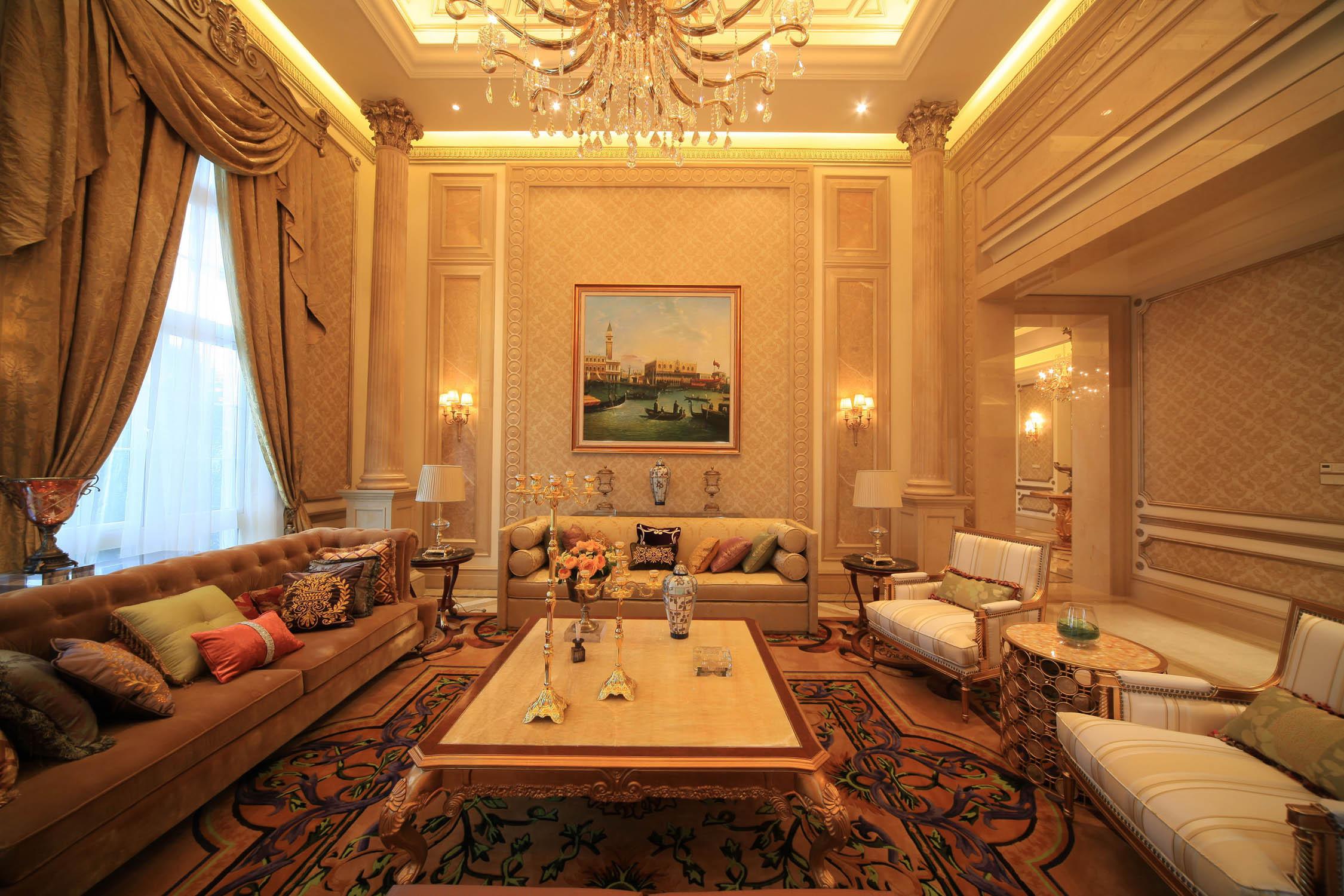 现代欧式风格一层别墅唯美餐桌桌布效果图