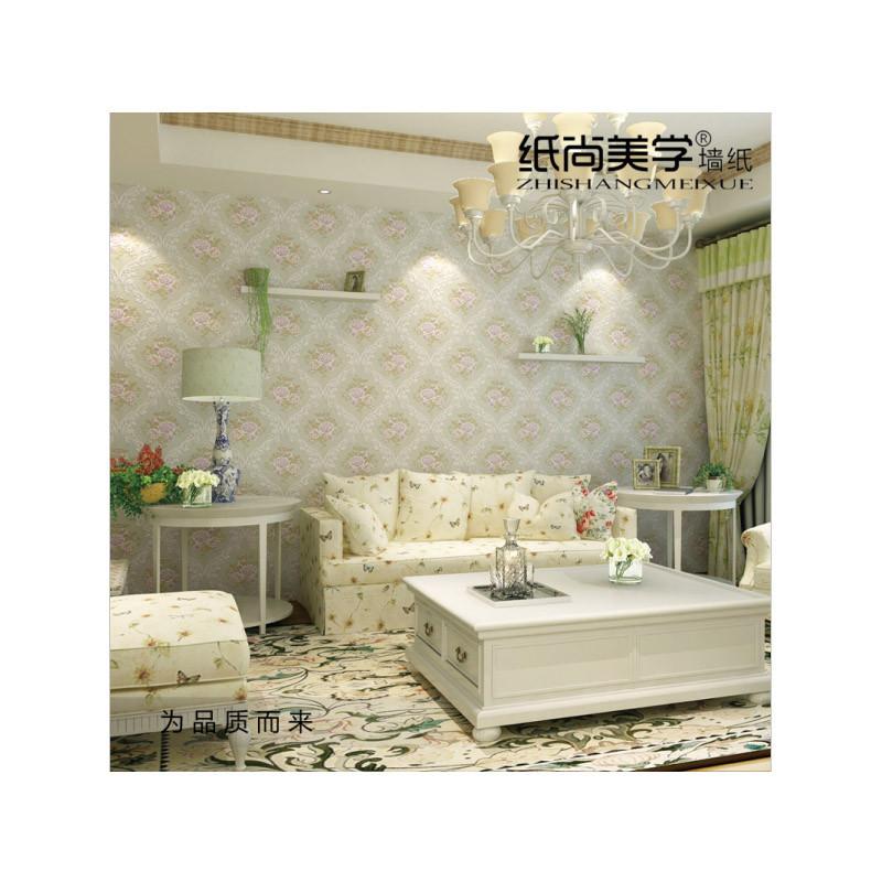 纸尚美学无纺布墙纸 美式田园 彩铅手绘风格客厅卧室壁纸