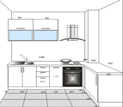 大信整体橱柜厨房高丽+石英石+烟机+灶台+水槽