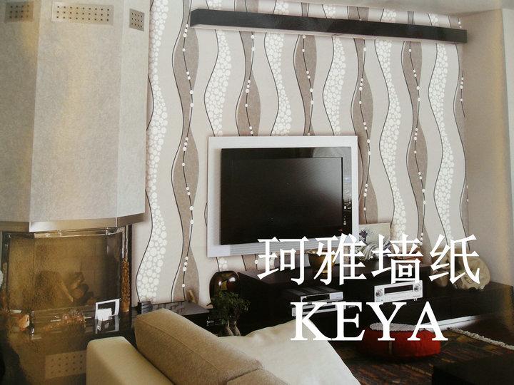 珂雅壁纸 经典灰黑波浪纹客厅电视背景墙纸大卷
