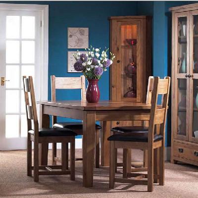 木夕城实木家具美式一桌四椅餐桌纯橡木饭桌餐台四人
