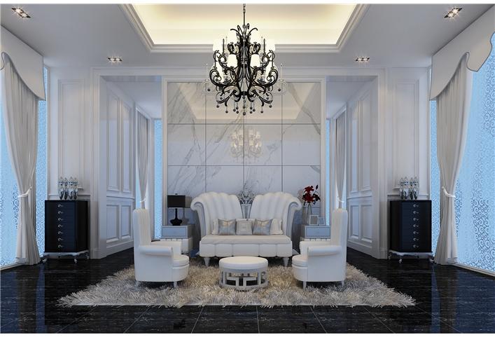 爵士白客厅地砖效果图