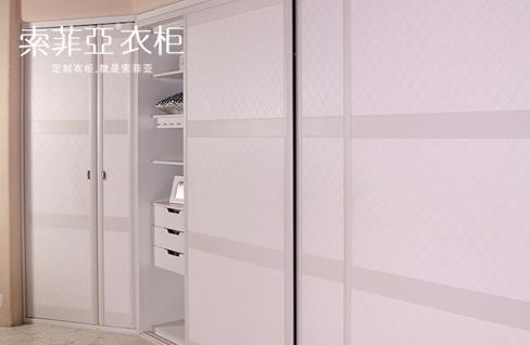 索菲亚衣柜移门开门c8边框米白皮革门定制组合e0环