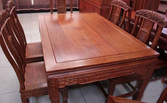 金鼎红木家具/木雕/饭桌/方桌/餐台/缅甸花梨餐桌7件套