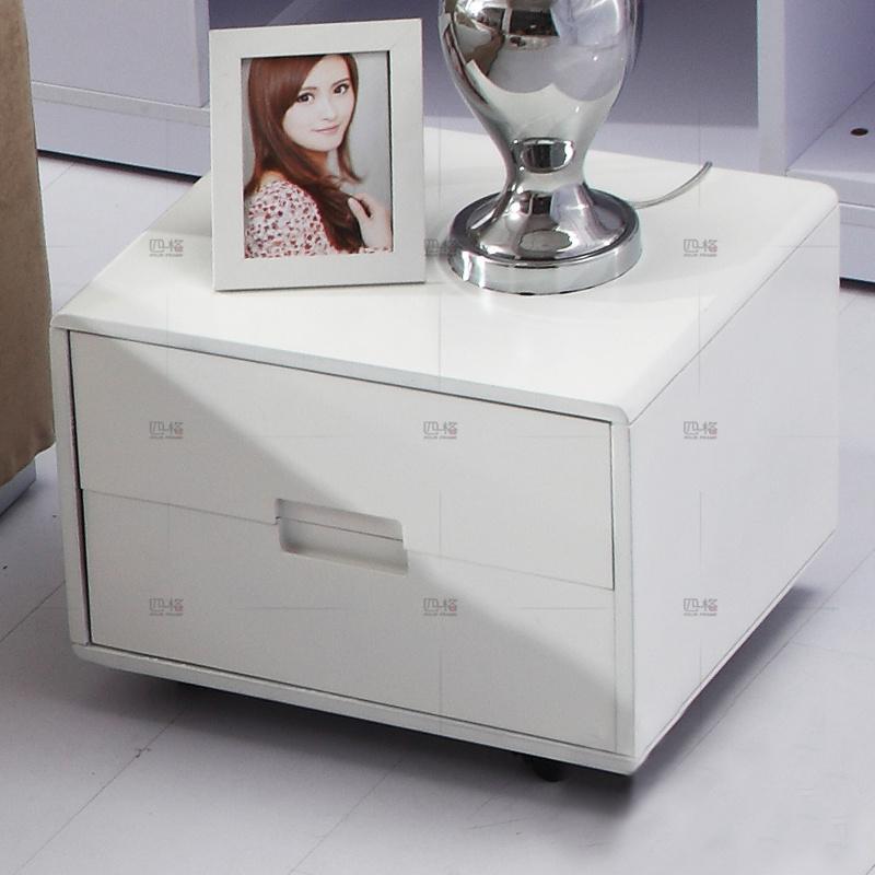 四格 白色漆烤床头柜 简约 时尚 储物柜 带滚轮 301|与软床搭配销售,单独定,联系客服咨询送货费.
