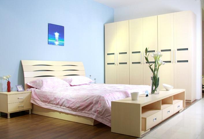 北京正时地址白枫色2002家具+2102高箱汽压床头联大家具图片