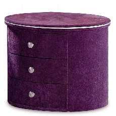 四格 时尚三抽紫色圆床头柜 上海包送货 软床配套圆形床头柜|配套软床销售,单独订购,无法送货