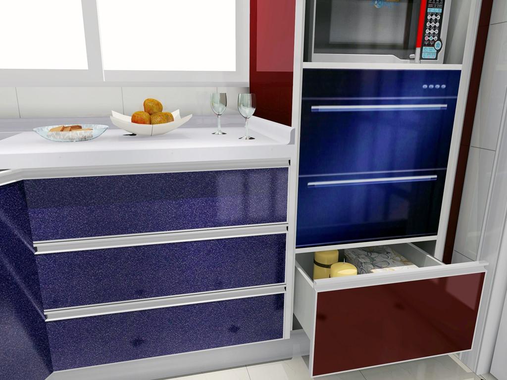 尚品宅配 定制l型整体橱柜 烤漆系列 人造石台面设计方案