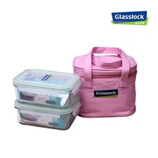 三光云彩GLASSLOCK玻璃饭盒 GL18 715ML*2个 粉色包包