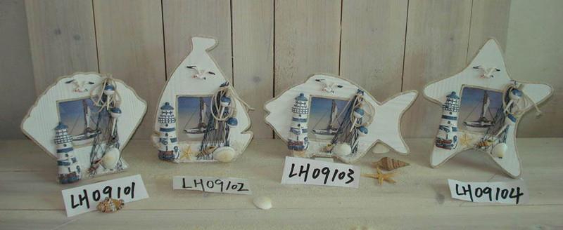 贝壳,船,鱼,海星相框 地中海风格 木制纯手工 外贸原单