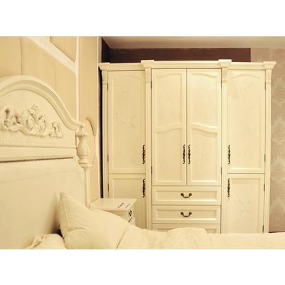 春木家居家具,实木橡胶木贴木皮,白色大木纹衣柜