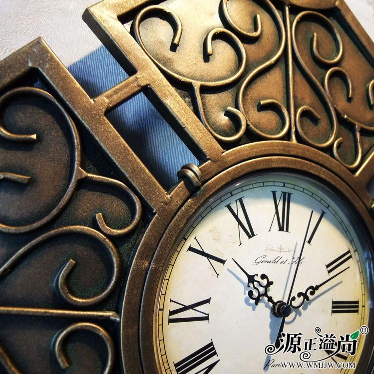 欧式复古铁艺客厅挂钟 菱形盾牌个性创意纯手工时钟壁