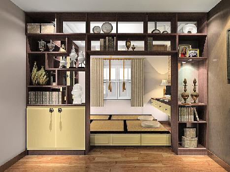 实木风榻榻米书房书柜定制兼卧室设计方案