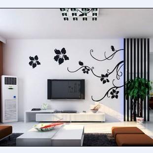 绿森林硅藻泥 简单电视背景墙