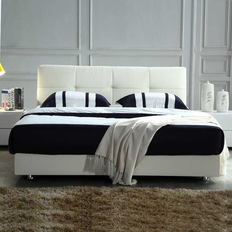 四格 小户型软床1.5米 双人真皮床 现代简约皮艺床L101|江浙市区包送货,小尺寸,大空间,只要2米就OK