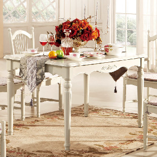 拾度家居 欧式餐桌 白色餐台 实木餐桌 法式古典家具