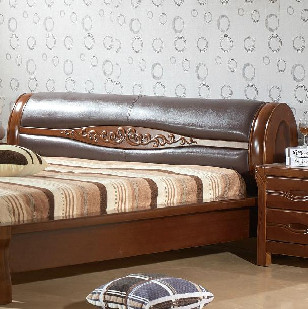 林牧阁 中式胡桃木家具1.8米全实木大床 双人床真皮软床