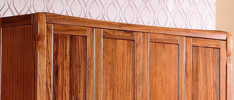 林牧阁 乌金木衣柜 实木衣柜 组合四门衣柜 卧室家具纯实木储物柜