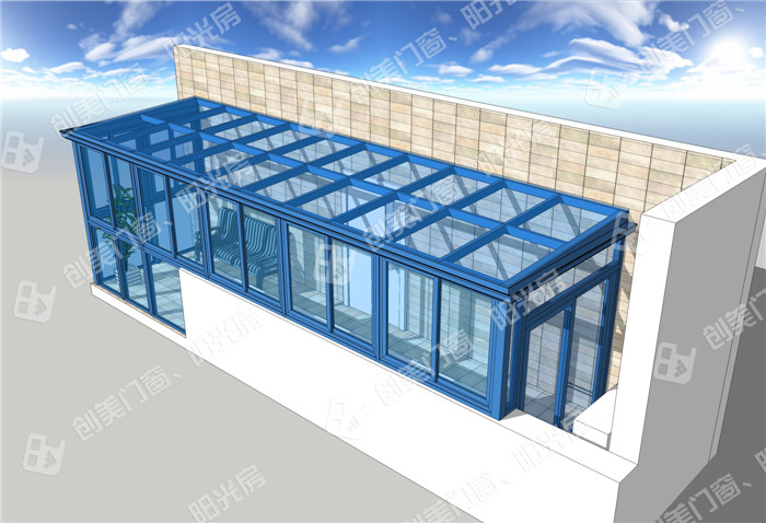 创美钢铝结构大骨架阳光房夹胶玻璃