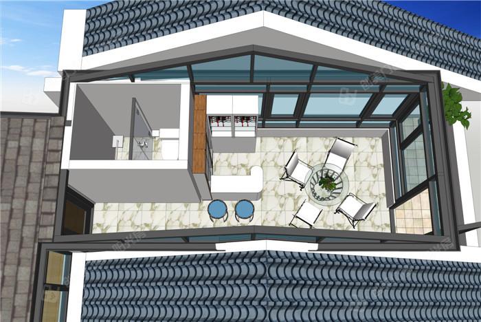 创美钢铝结构大骨架阳光房,玻纤瓦顶