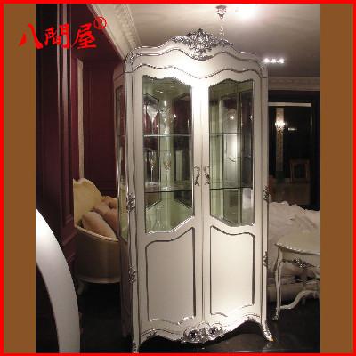 欧式酒柜 新古典双门酒柜 实木雕花玻璃酒柜 展示柜餐厅家具