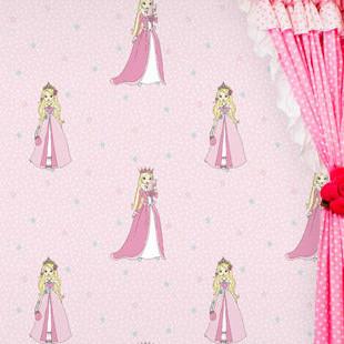 无纺布卡通米兰壁纸可爱公主房 温馨小女孩房卧