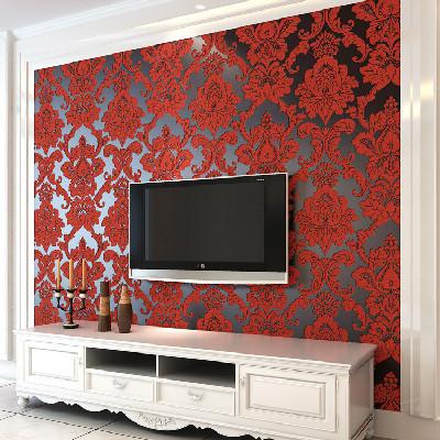 墙纸/壁纸 植绒墙纸 纸尚美学鹿皮绒t66033欧式客厅卧室3d电视背景墙